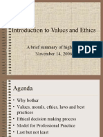 Introduction to Values and Ethics