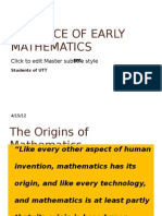 Evidence of Early Mathematics