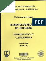 Mecánica de fluidos HIDROSTÁTICA Y CAPILARIDAD Julio Borghi (Universidad de la República Oriental