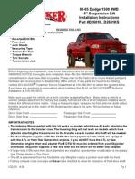 SkyJacker Dodge D2601A Install Manual