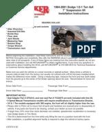 SkyJacker Dodge D7075-DX Install Manual