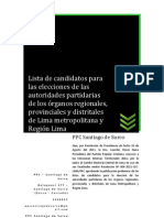 Lista de Candidatos para elecciones de las autoridades partidarias de los órganos regionales, provinciales y distritales de lima metropolitana y region Lima