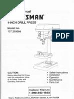 Craftsman Drill Press 137.219090 L0711529