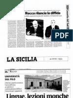 Ragusa, Facoltà di Lingue. Rassegna stampa del 22 settembre 2011