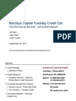 Barclays Capital Tuesday Credit Call 20 September 2011