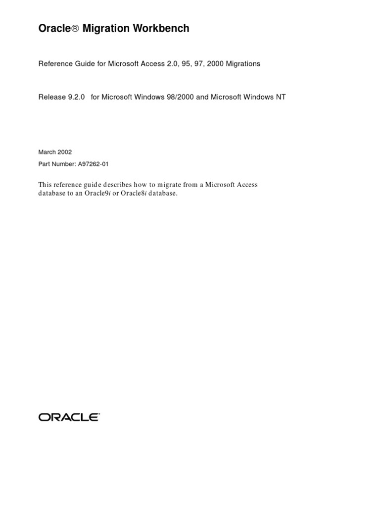 47_Migration Workbench Reference Guide for Microsoft Access 2