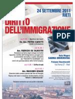 """Corso Formativo """"Diritto dell'immigrazione""""  Rieti, il 24 settembre 2011 presso l'aula magna della Sabina Universitas."""