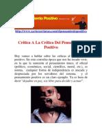 Critica a La Critica Del to Positivo