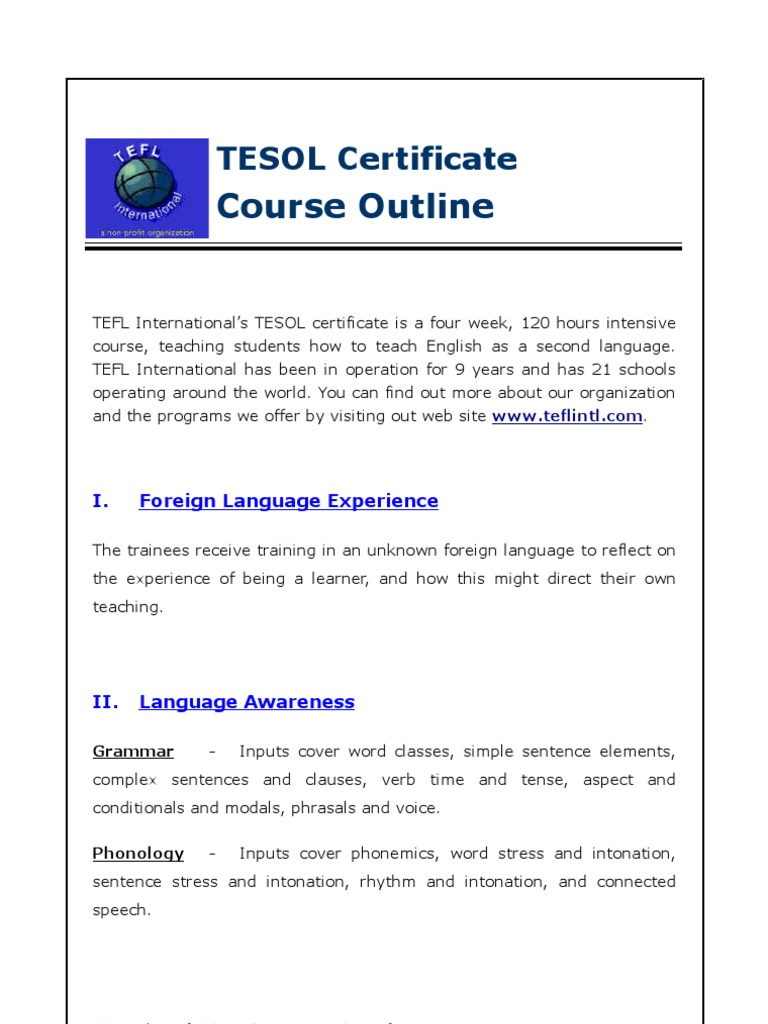 Tesol certificate outline english as a second or foreign tesol certificate outline english as a second or foreign language teaching english as a foreign language 1betcityfo Image collections