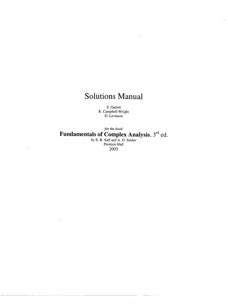 Fundamentals of Complex Analysis With Applications to Engineering and  Science Solution Manual
