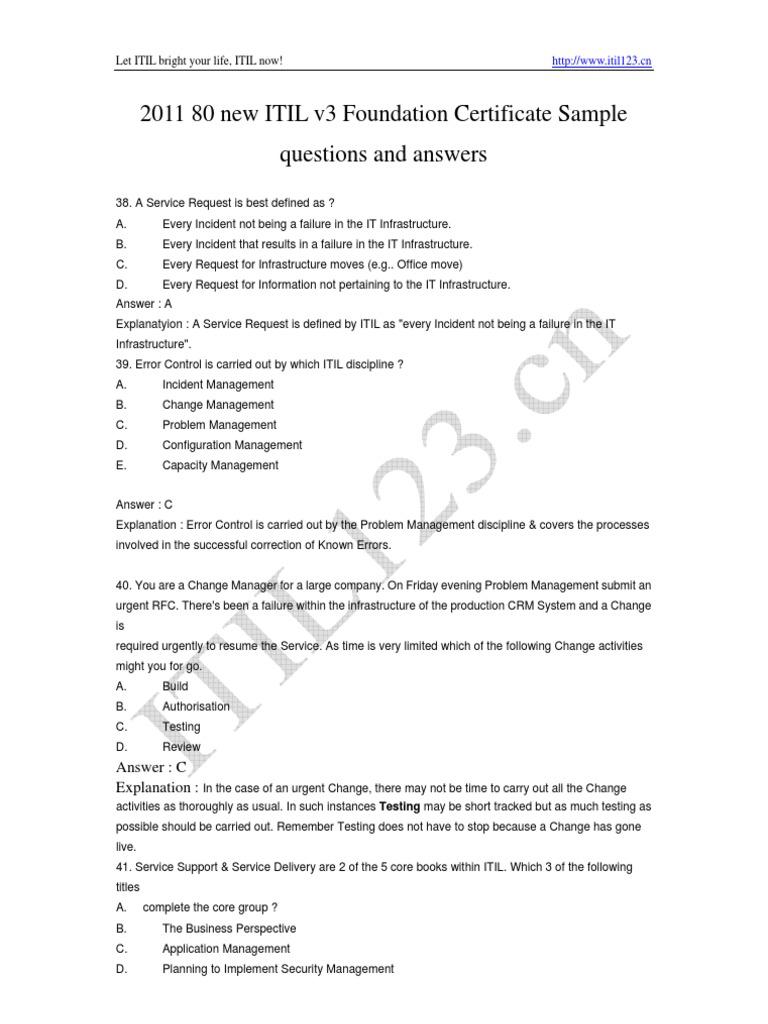 2011 88 Itilv3 Exam Prep Questions Pdf Itil It Service Management