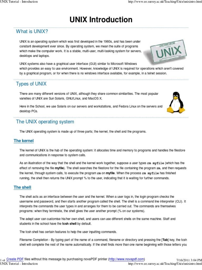 Unix tutorials pdf free download