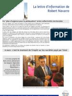 Lettre d'Information Robert Navarro Juin - Juillet 2011