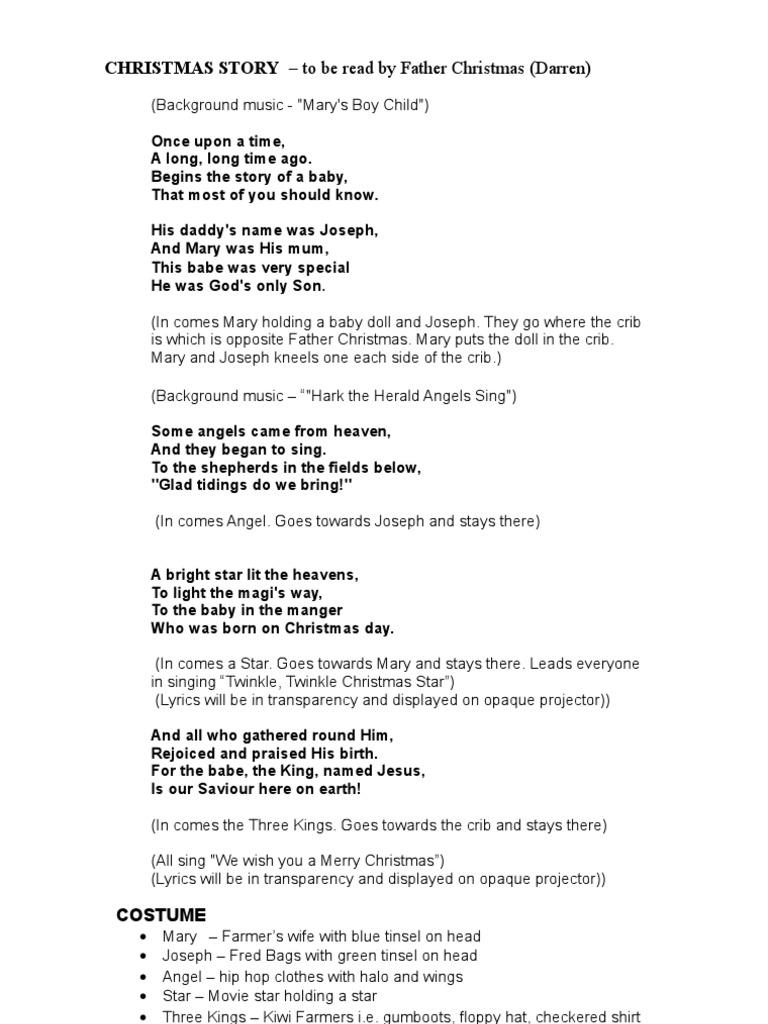 Light Of Christmas Lyrics.Christmas Story Script