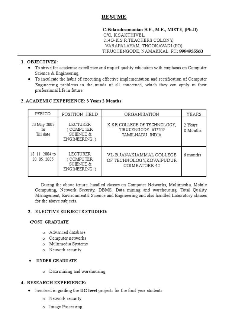 Sample Resume Tamil Nadu Databases