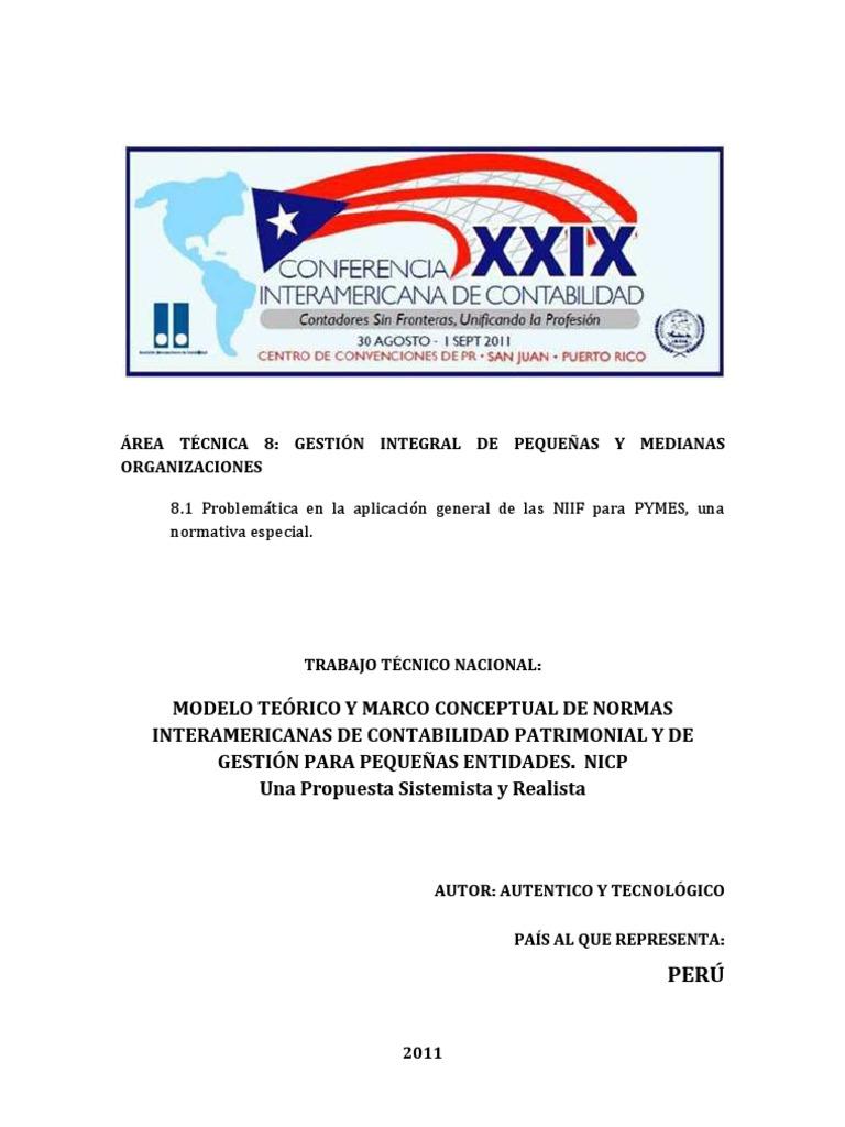 MARCO TEORICO Y CONCEPTUAL DE NORMAS INTERAMERICANAS DE CONTABILIDAD ...