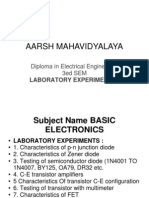 Reporting of Laboratory Experiments Aarsh Colleage