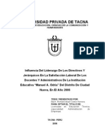 Tesis de Liderazgo en La Satisfacion Laboral de Los Docentes y Administativos