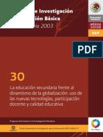 La educación secundaria frente al dinamismo de la globalización_Uso de las nuevas tecnologías, participación docente y calidad educativa