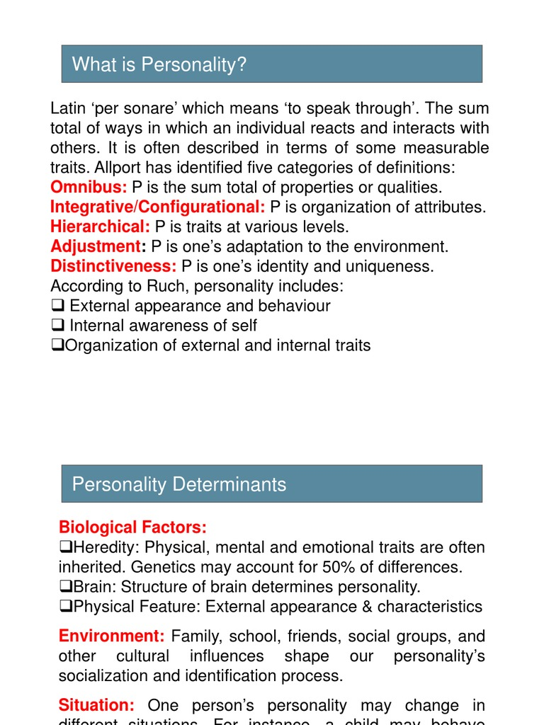 biological determinants of personality