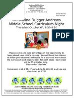 Andrews Middle School Curriculum Night