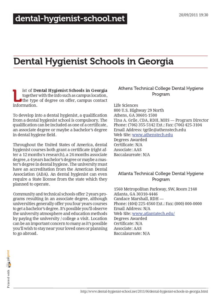Dental Hygienist Schools In Georgia Dental Hygienist Associate