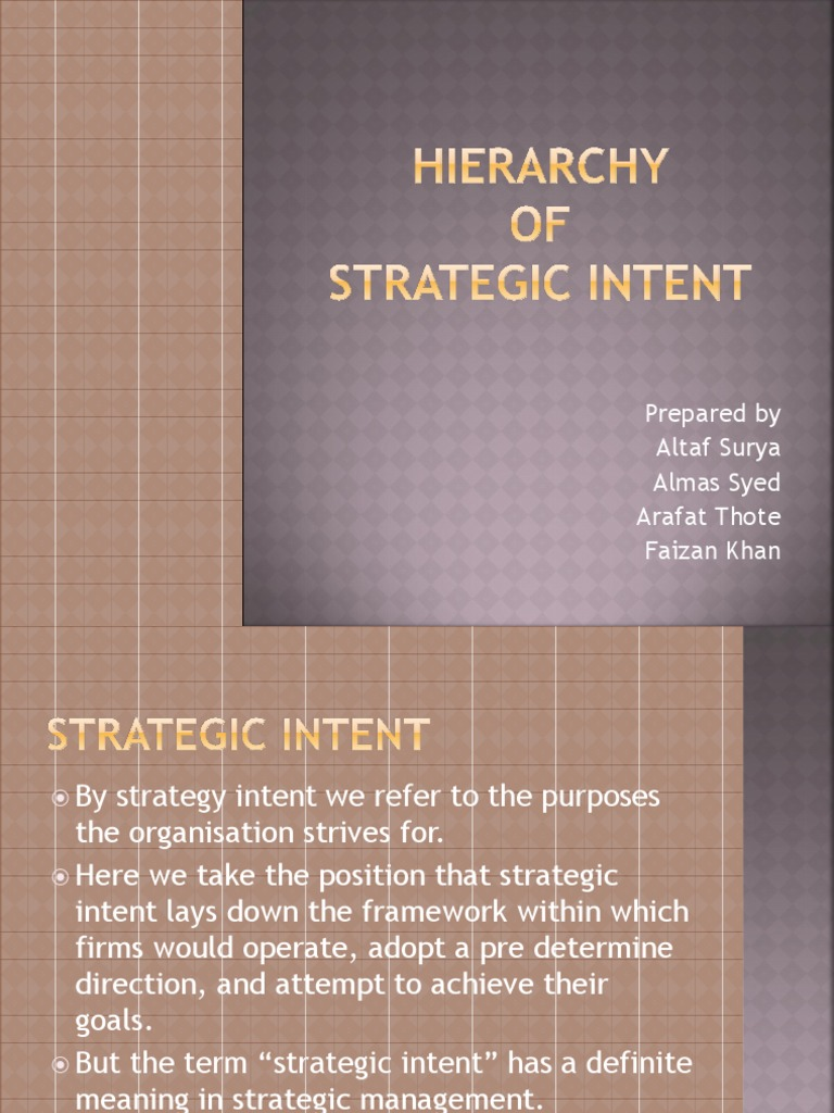 hierarchy of strategic intent ppt