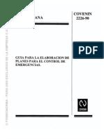 COVENIN 2226-90 (GUIA PARA LA ELABORACIÒN DE PLANES PARA EL CONTROL DE EMERGENCIAS.)