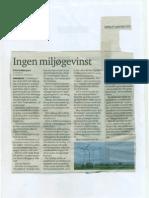 Ingen miljøgevinst. Eva Knakkergaard. Nordjyske 17.09.2011