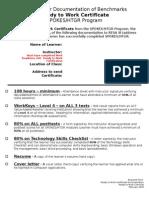 Ready to Work Certificate Checklist