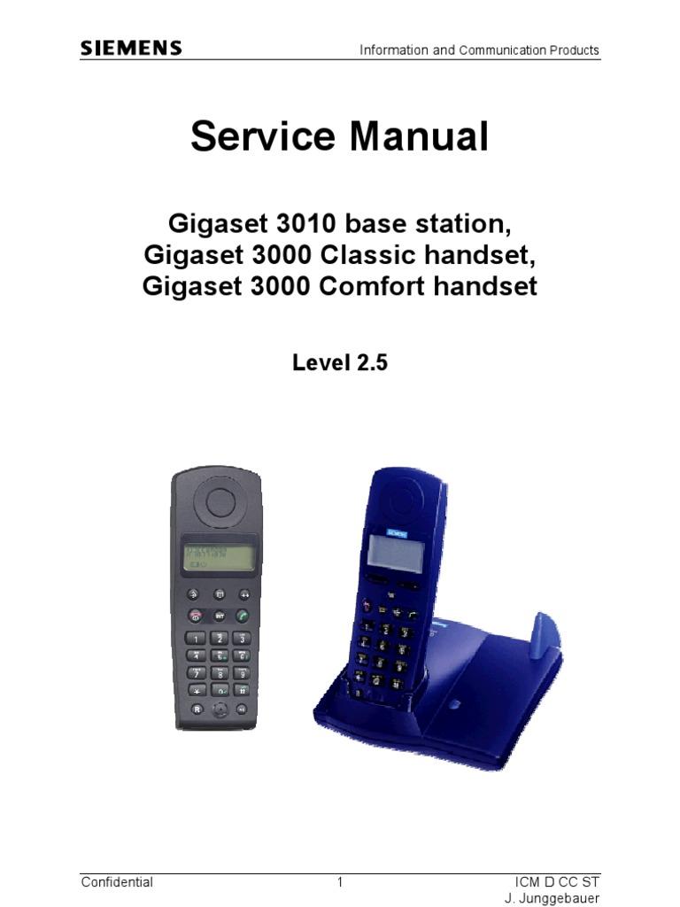 11 09 23 service manual gigaset 3010 base 3000 classic comfort rh pt scribd com Siemens Gigaset Telephone Siemens Gigaset 2420 Manual