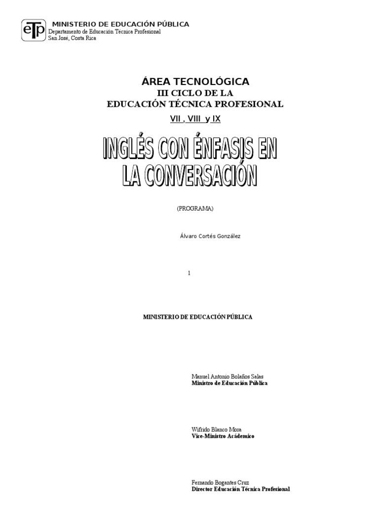Programa Ingls Conversacional Costa Rica Taller 7 8 Y 9