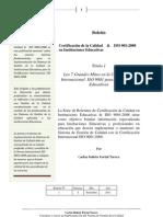 Certificacion de La Calidad en Instituciones Educativas & Iso 9001