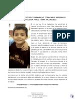 Comunicado por asesinato del niño  Aaron Josue Tobar Valenzuela de 7 años