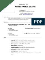 Resume of Shams No Cgpa