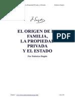 El Origen de La Familia, La Propiedad Privada y El Estado (Engels)