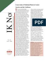 Conservation of Medicinal Plants in Central America y EC (IK, 2009)