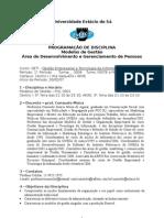Programa de Aula - Disciplina Modelos de Gestão