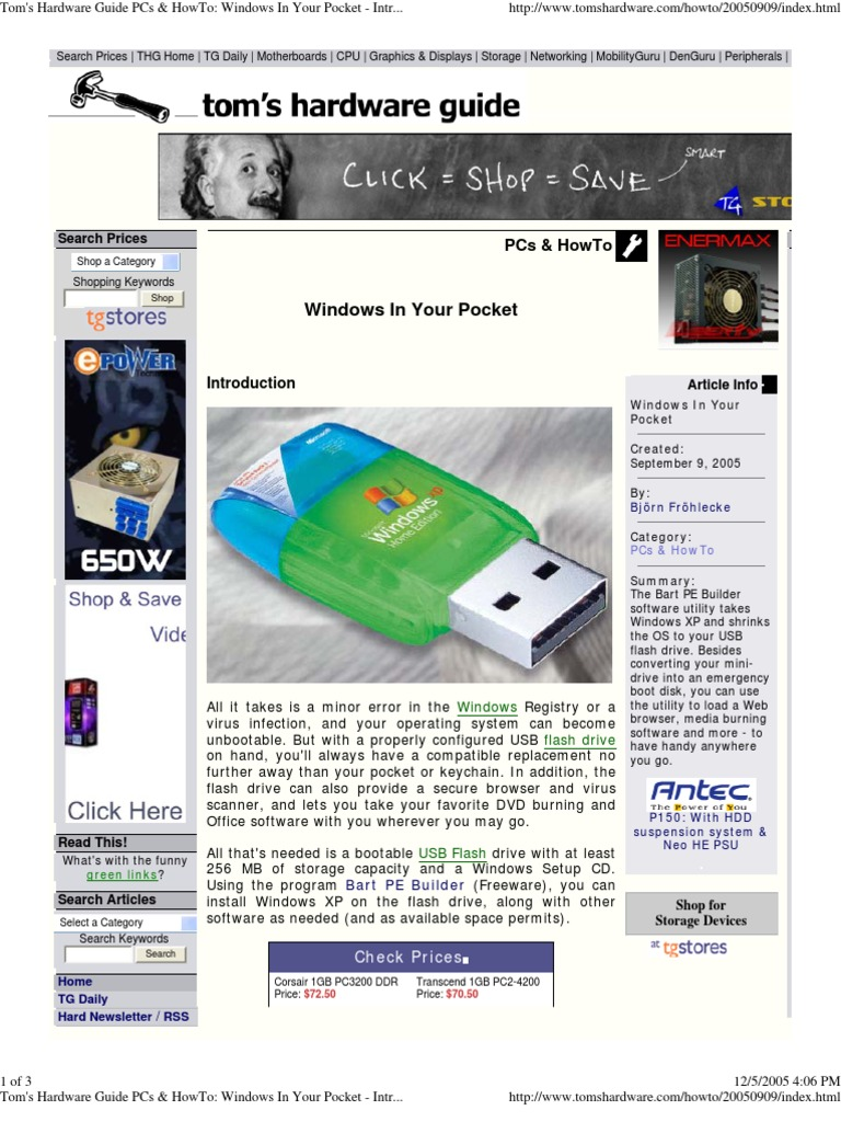 Toms Hardware Guide Pcs Howto Windows In Your Pocket Memory 1 Gb Ddr1 Pc3200 Ready Personal Computers Usb Flash Drive