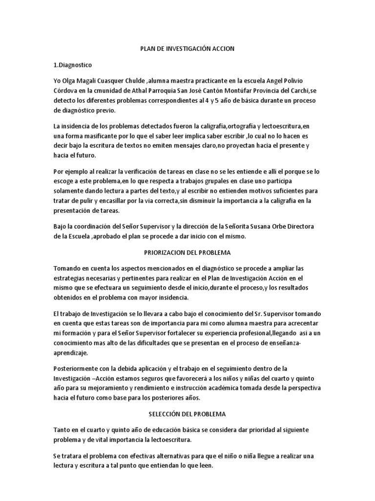 PLAN DE INVESTIGACIÓN ACCION