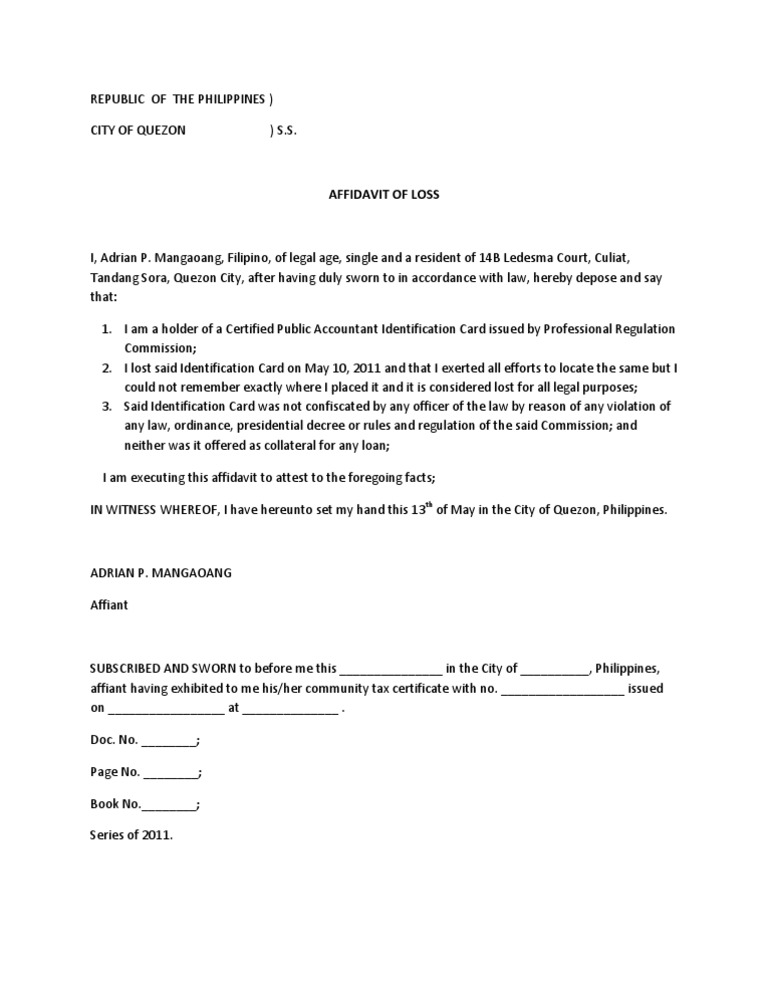 Affidavit Of Loss PRC ID Ideas Affidavit Of Loss Template