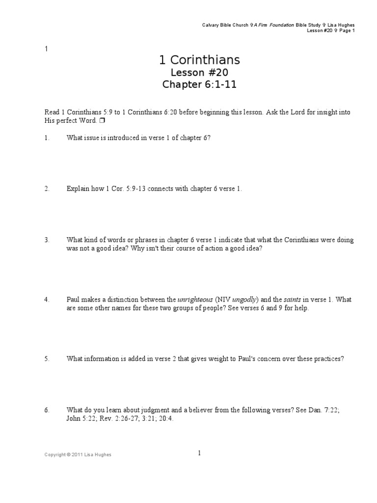 I Cor Lesson #20 Chapter 6 Verses 1-11 | First Epistle To
