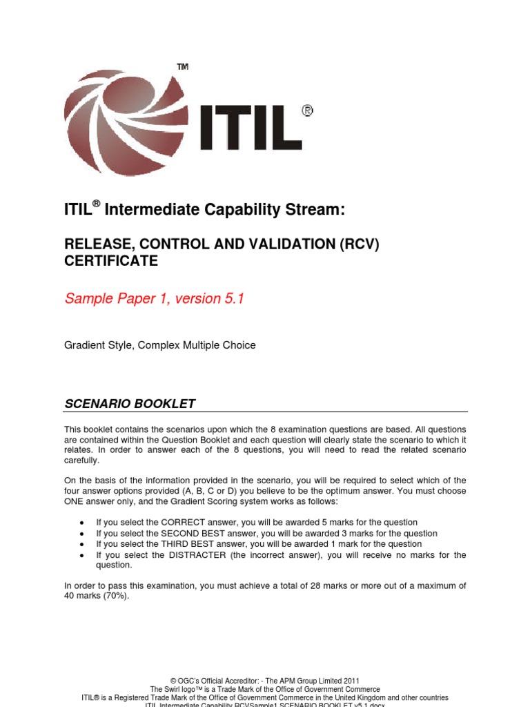 Itil intermediate capability rcvsample1 scenario booklet v511 itil intermediate capability rcvsample1 scenario booklet v511 itil accountability yelopaper Gallery
