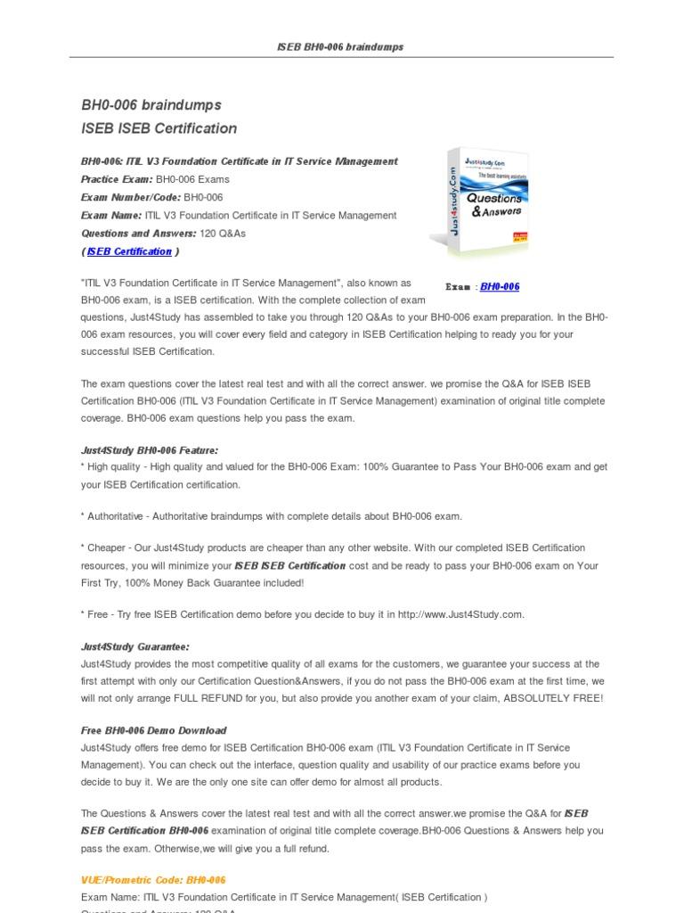 Just 4 study bh0 006 pdf itil information management xflitez Image collections