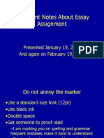 Important Notes About Essay Assignment
