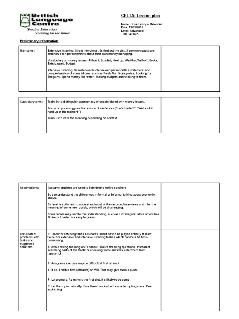 Lesson Template  Rich and Poor | Reading Comprehension | Cognitive