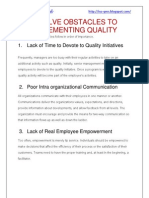 Twelve Obstacles to Implementing Quality