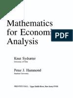 Sydsaeter Hammond - Mathematics for Economic Analysis