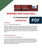 PRIX ITALIA all Winners 2011