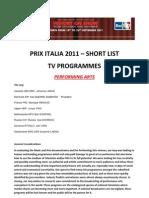 PRIX ITALIA - Short List2011